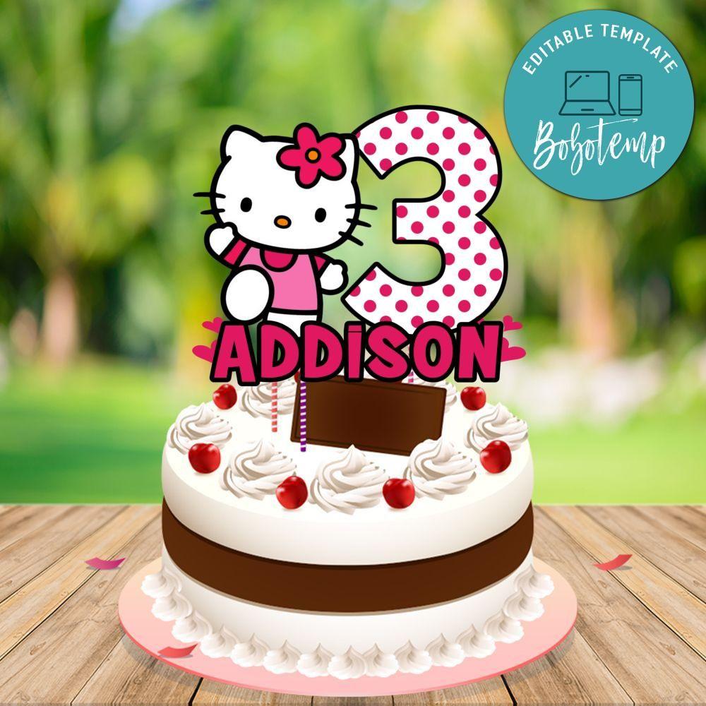 hello kitty birthday cake topper template printable diy