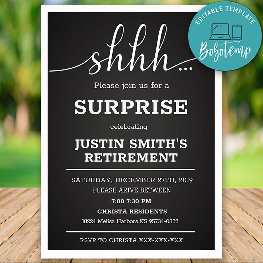 editable simple elegant surprise retirement party