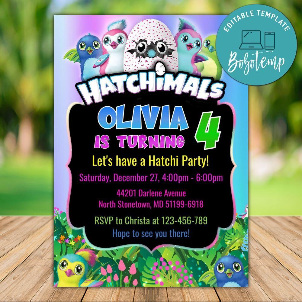 Editable Hatchimal Birthday Invitations Instant Download Bobotemp