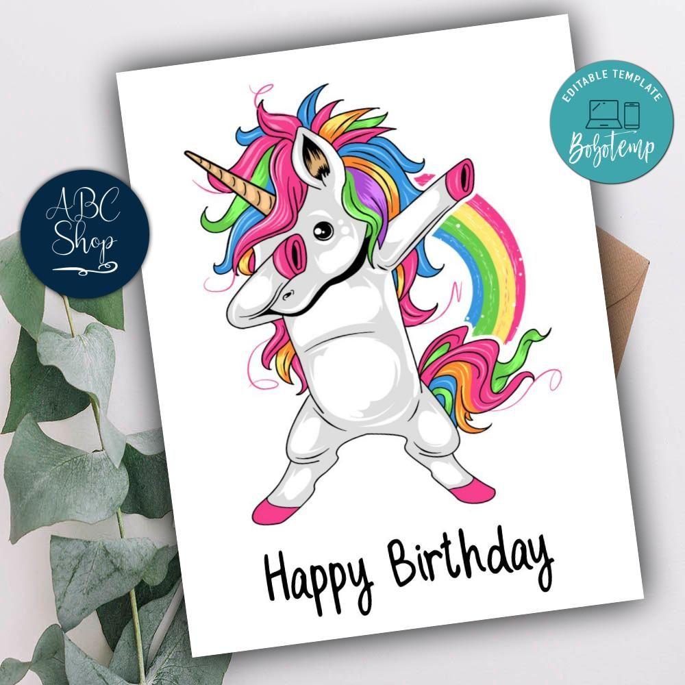 printable funny unicorn happy birthday cards instant