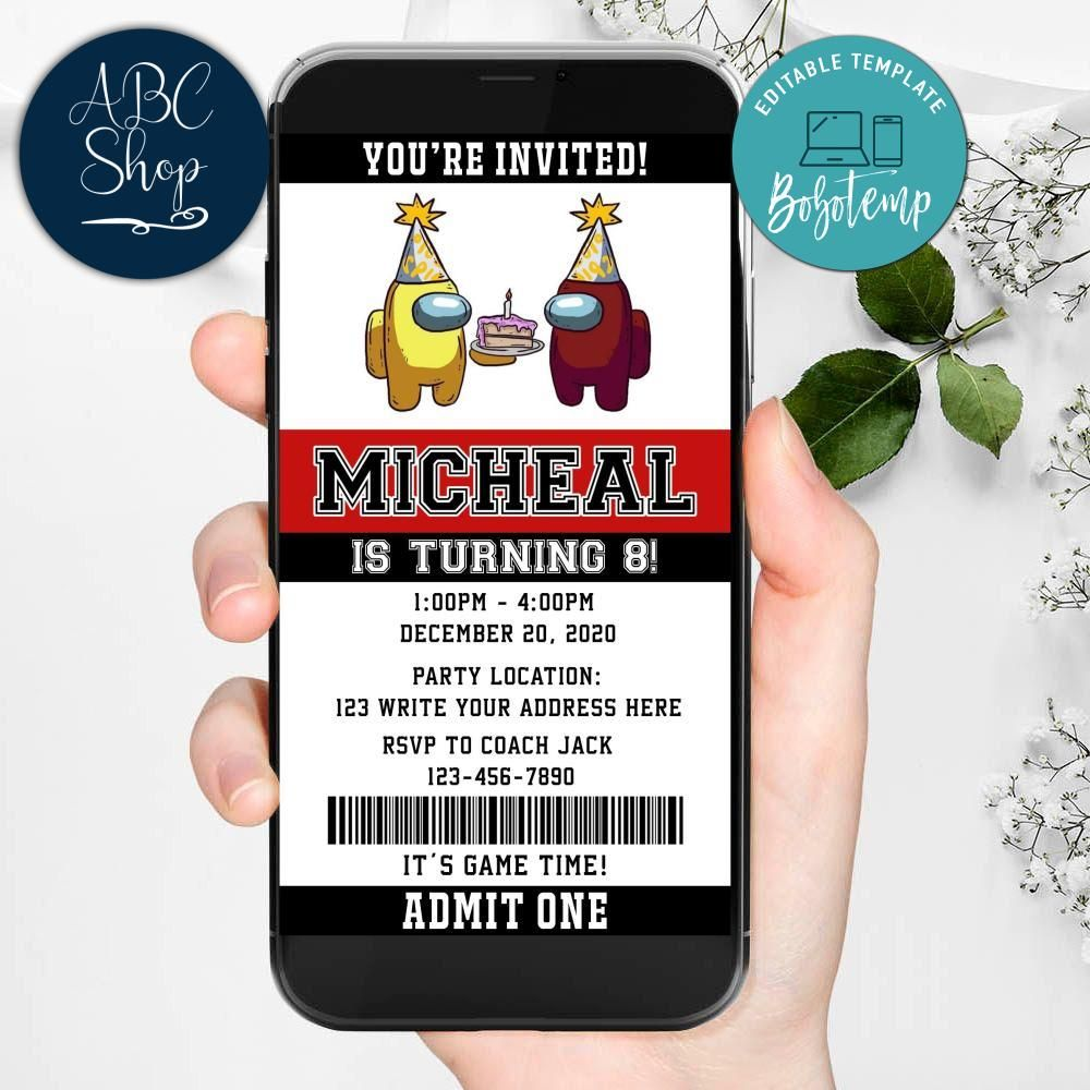 Electronic Among Us Evite Birthday Invites Instant Download Bobotemp
