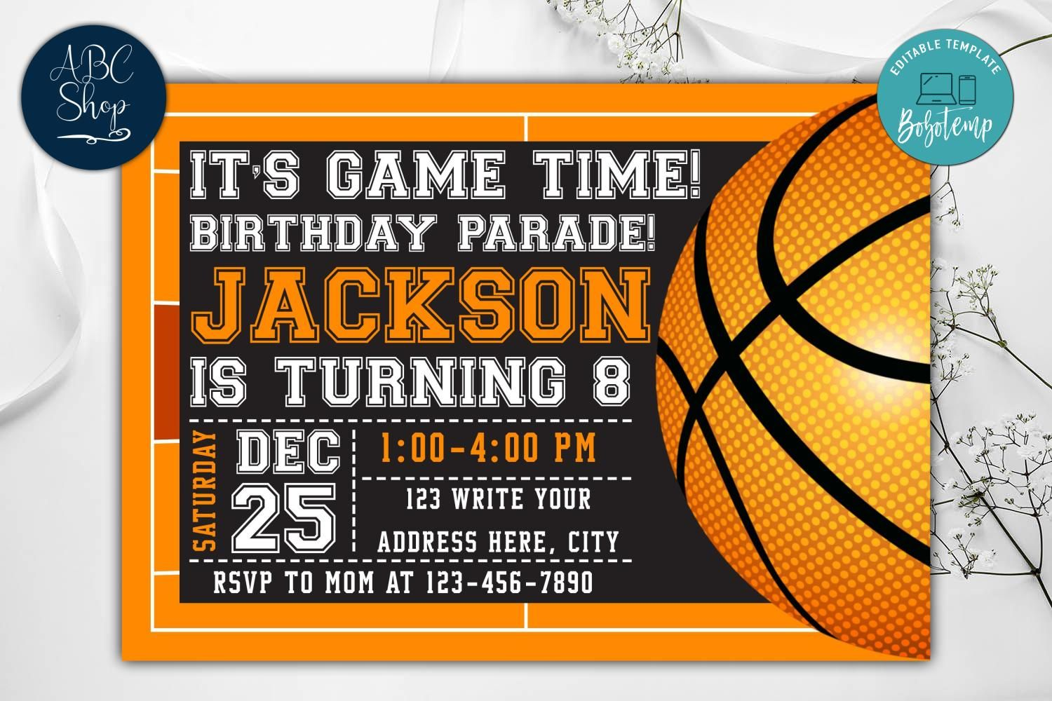 Printable Basketball Birthday Parade Invitation Instant Download Bobotemp