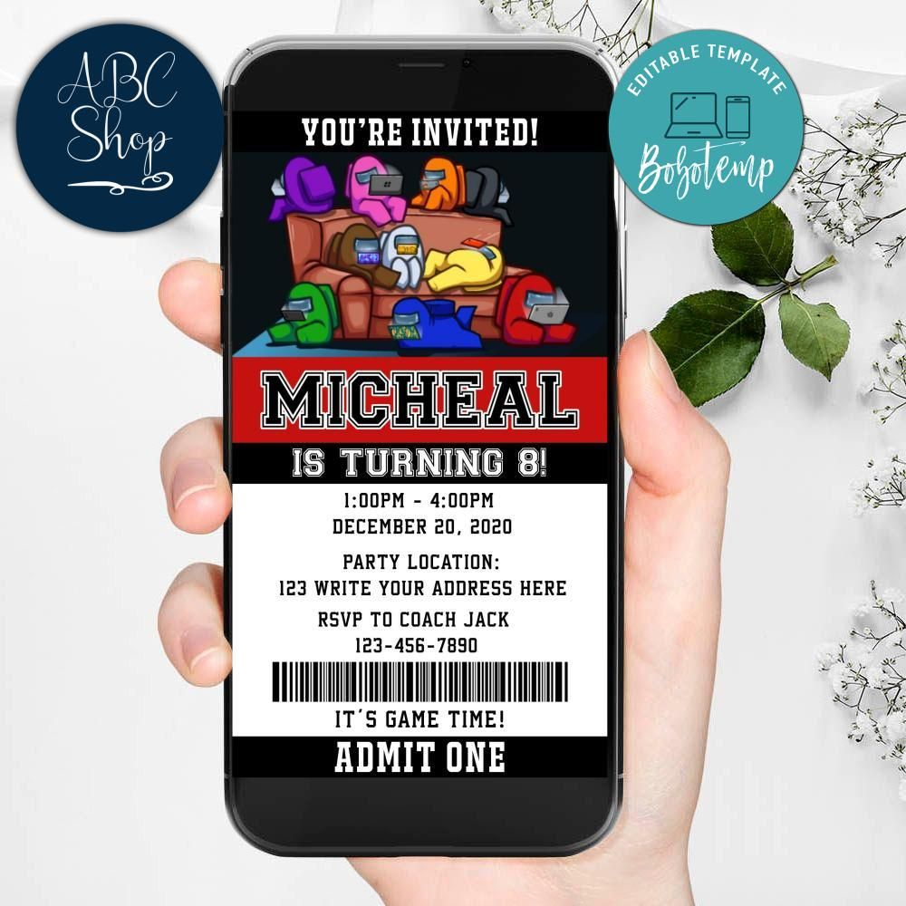 Electronic Among Us Evite Birthday Invitations Instant Download Bobotemp