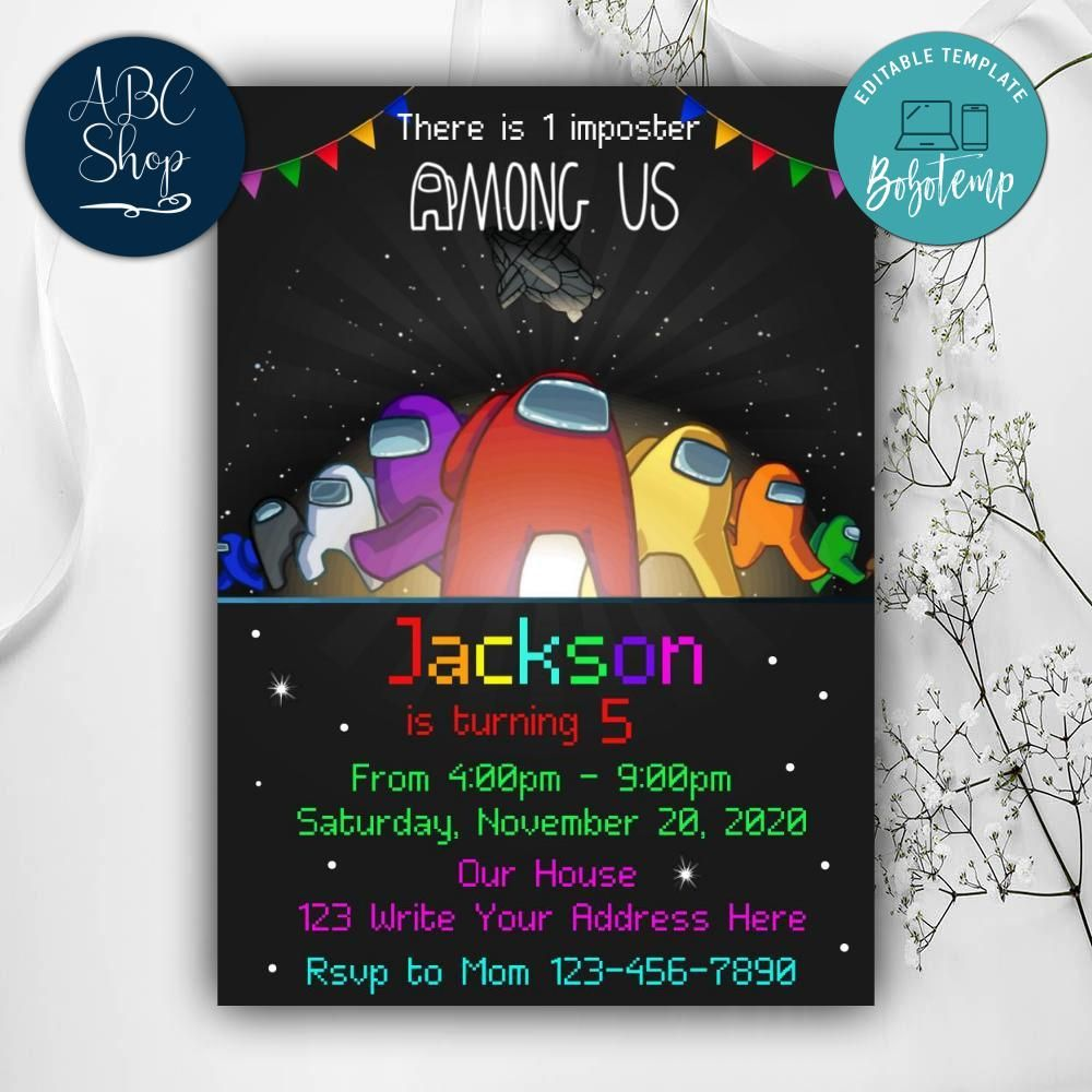 printable among us birthday party invites instant download